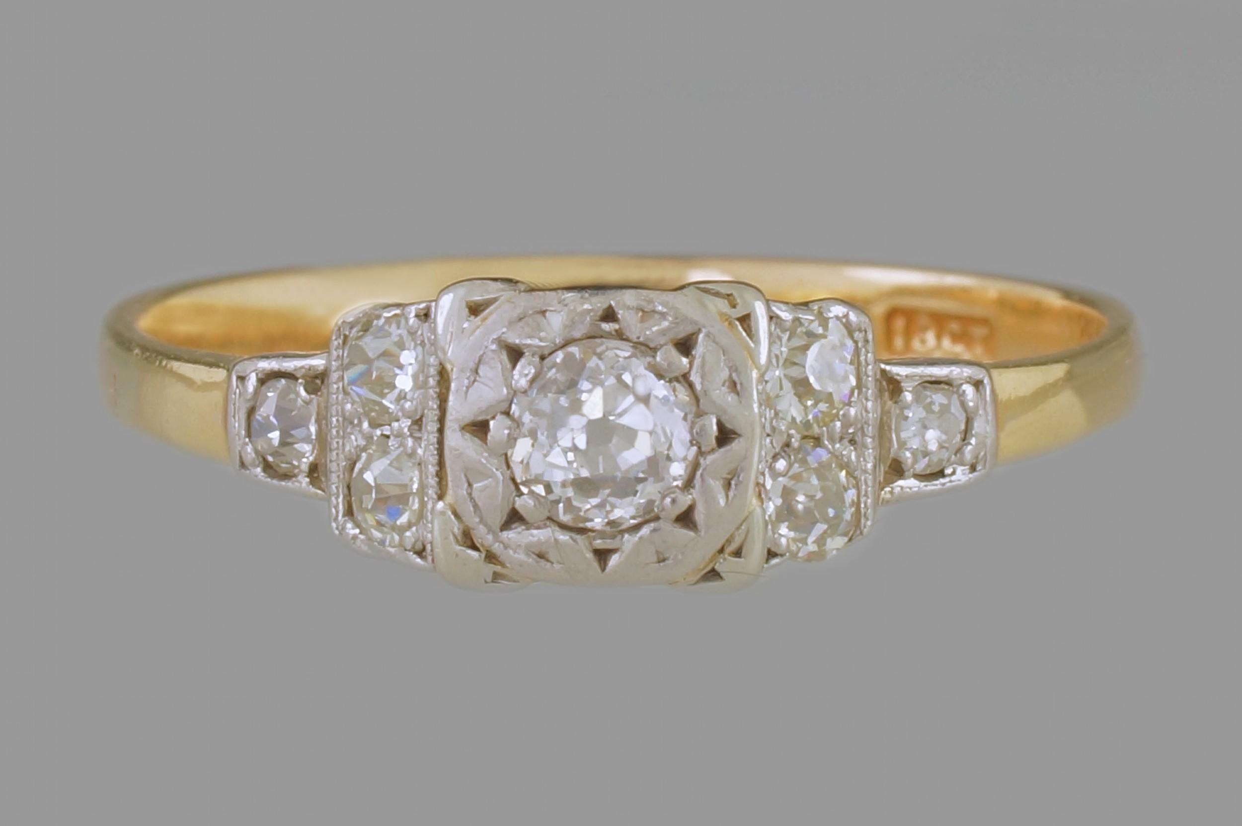 Old Mine Cut Diamond Ring Genuine Edwardian 18ct Gold Platinum Engagement: Genuine Edwardian Wedding Rings At Websimilar.org