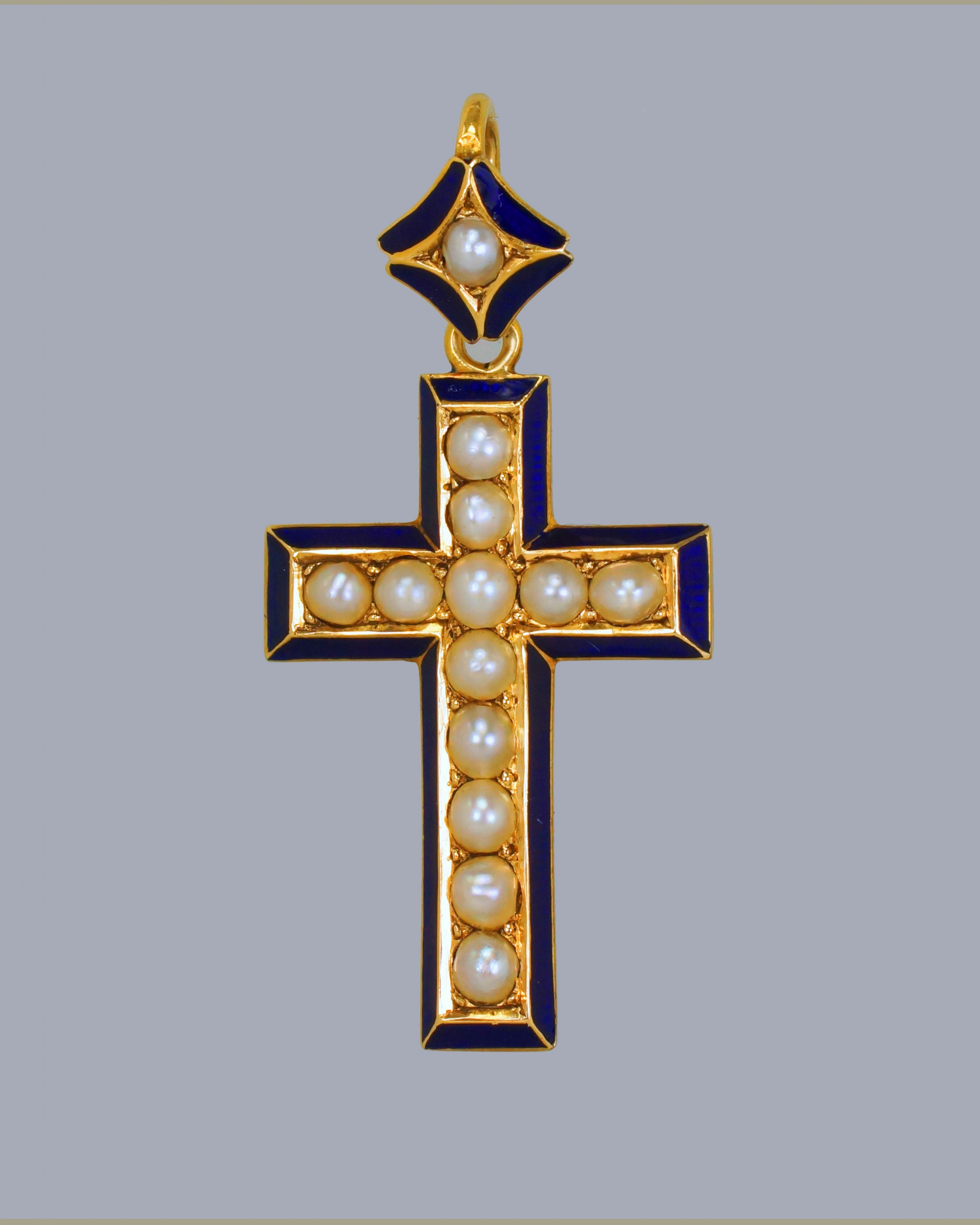 victorian pearl blue enamel crucifix pendant 18ct gold antique cross circa 1900