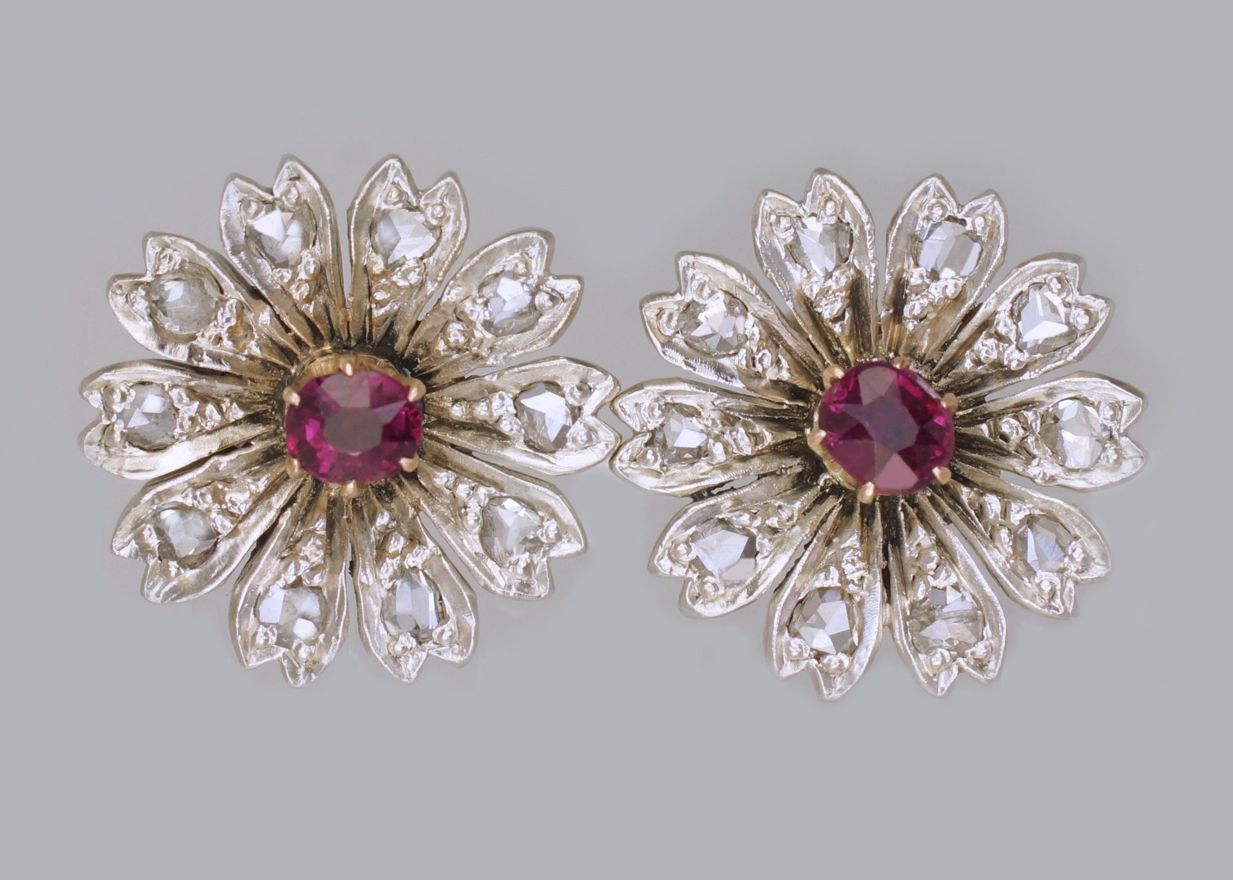 antique ruby rose cut diamond 9ct gold stud flower edwardian earrings circa 1910