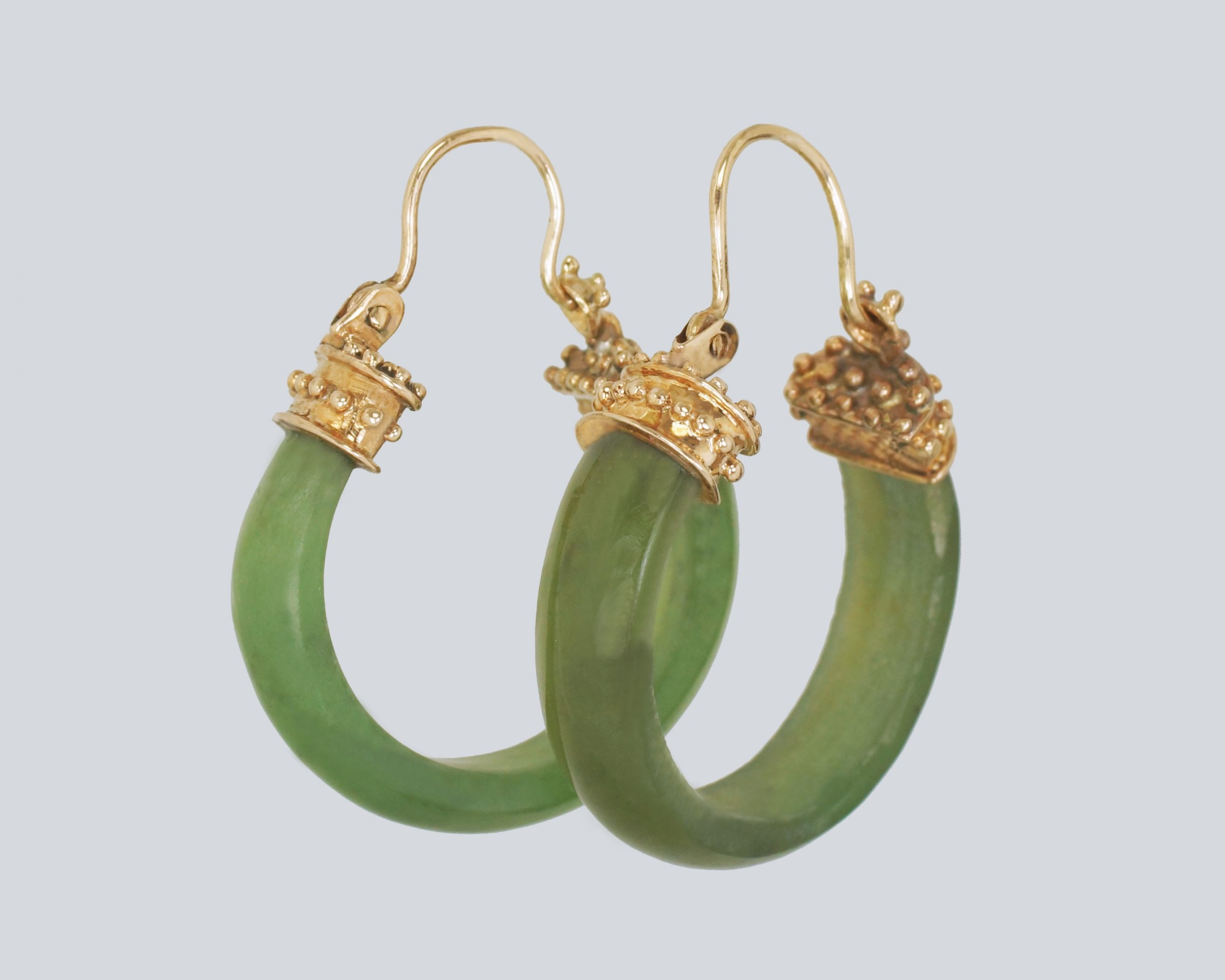 victorian nephrite jade 18ct gold hoop antique etruscan rivial earrings circa 1890