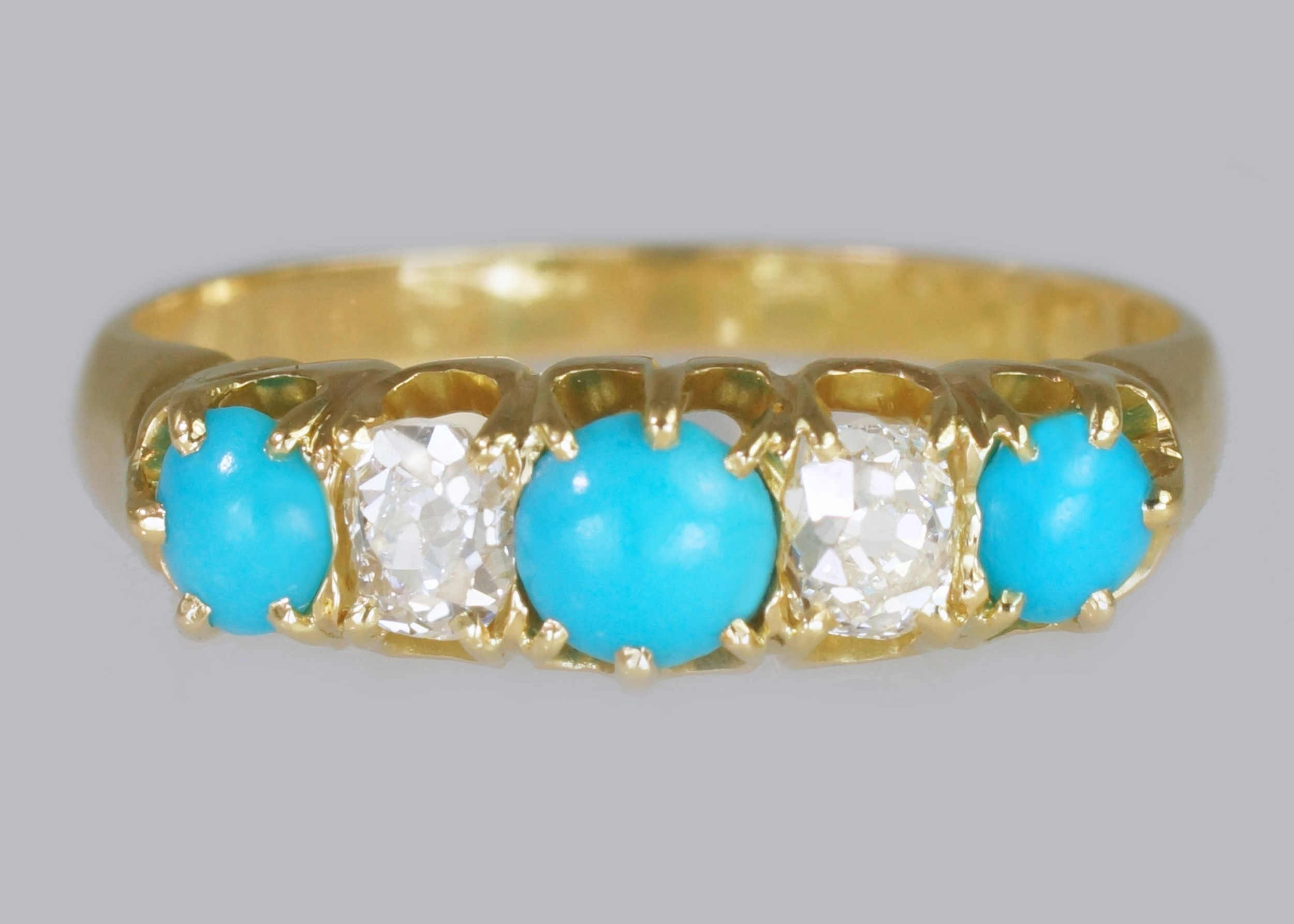 antique 18ct gold turquoise old mine cut diamond ring vintage five stone ring