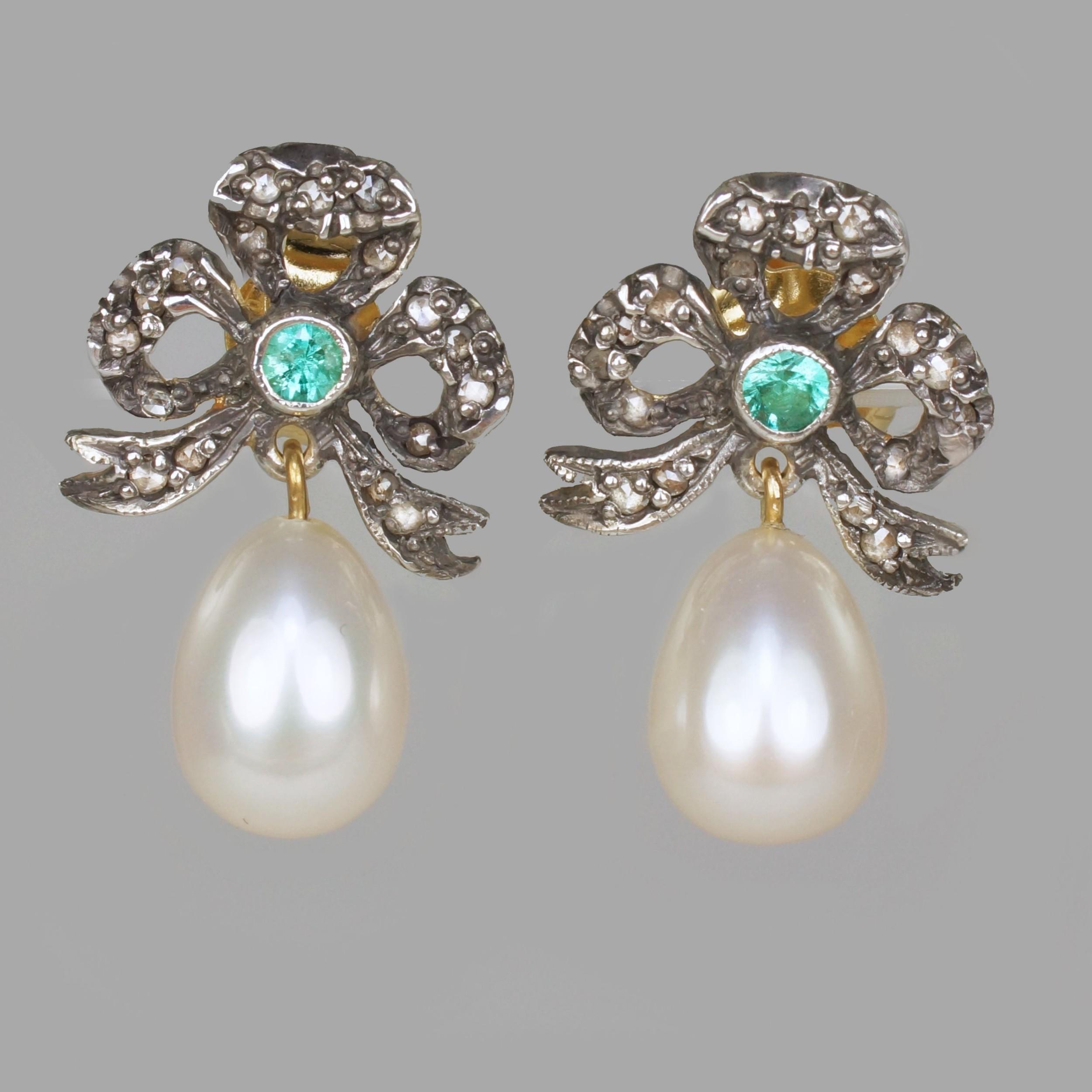 vintage pearl rose cut diamond emerald dangle earrings 18ct gold bow 1 drop victorian style earrings