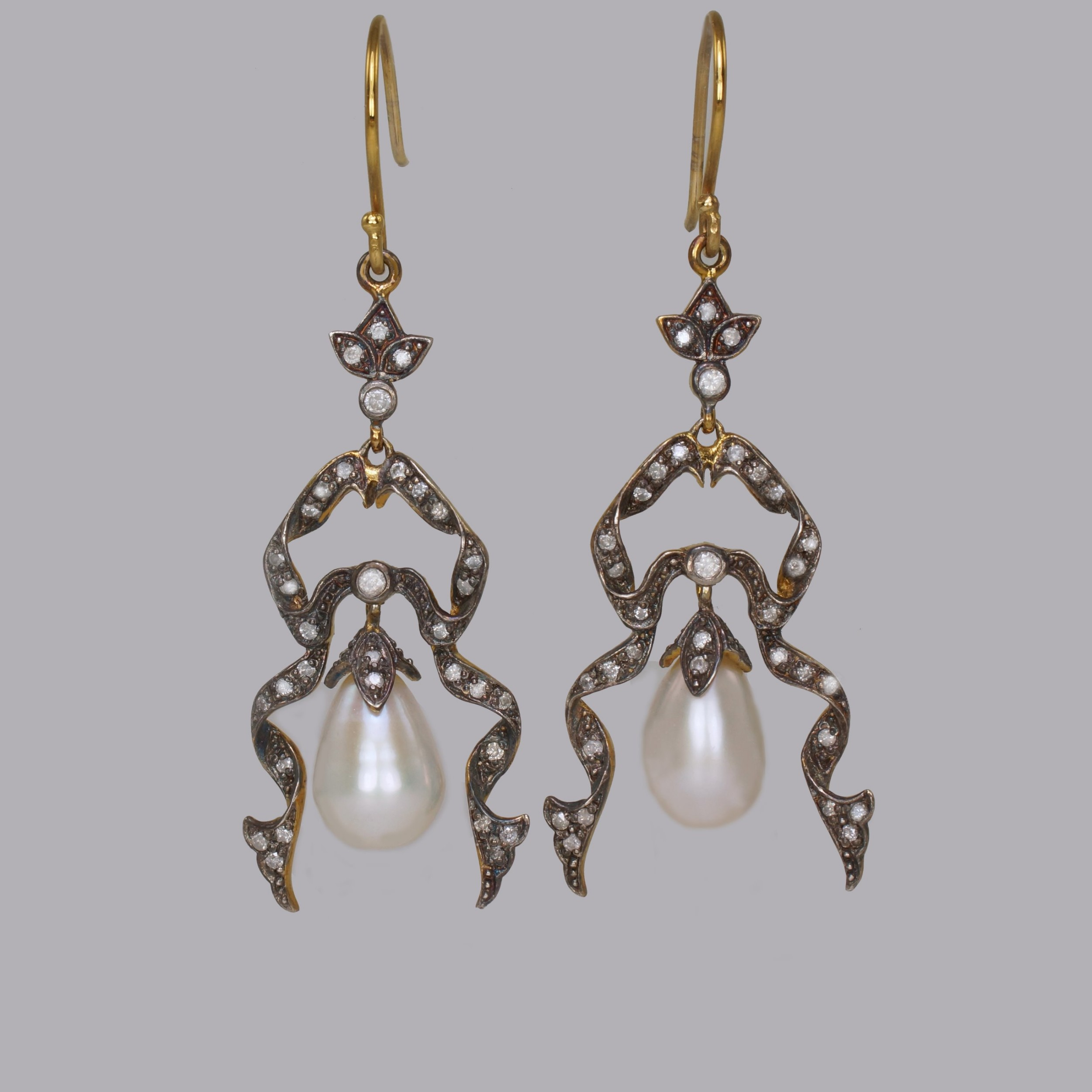 antique pearl diamond dangle 18ct gold silver victorian 2 14 drop earrings