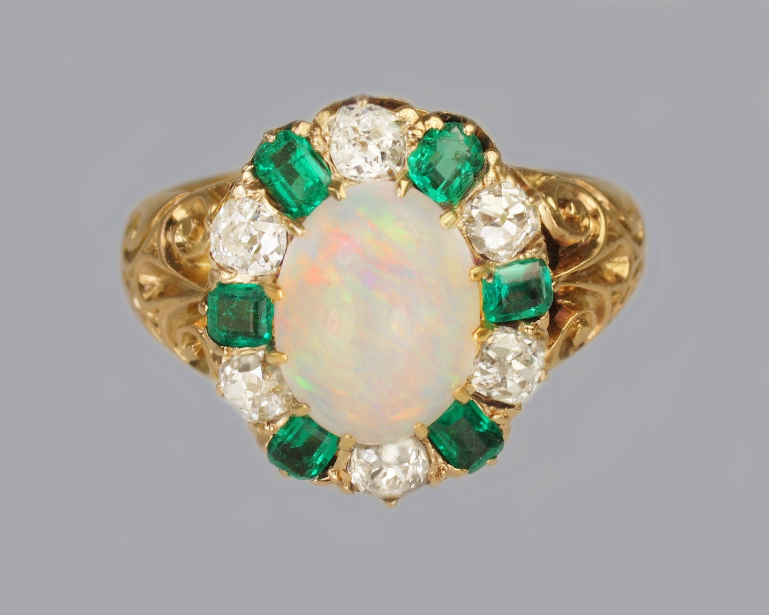 victorian opal emerald old cut diamond 18ct gold cluster ring hallmarked 1881