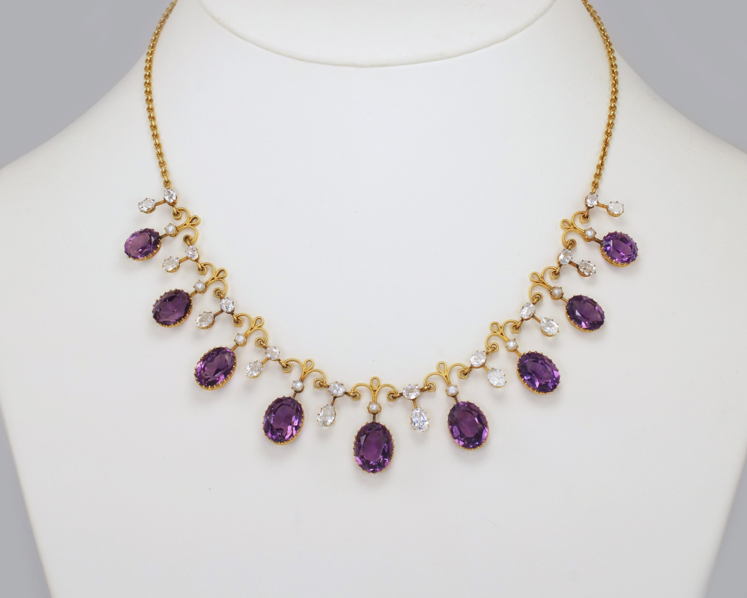 victorian amethyst goshenite pearl 15ct gold antique garland necklace with original presentation box