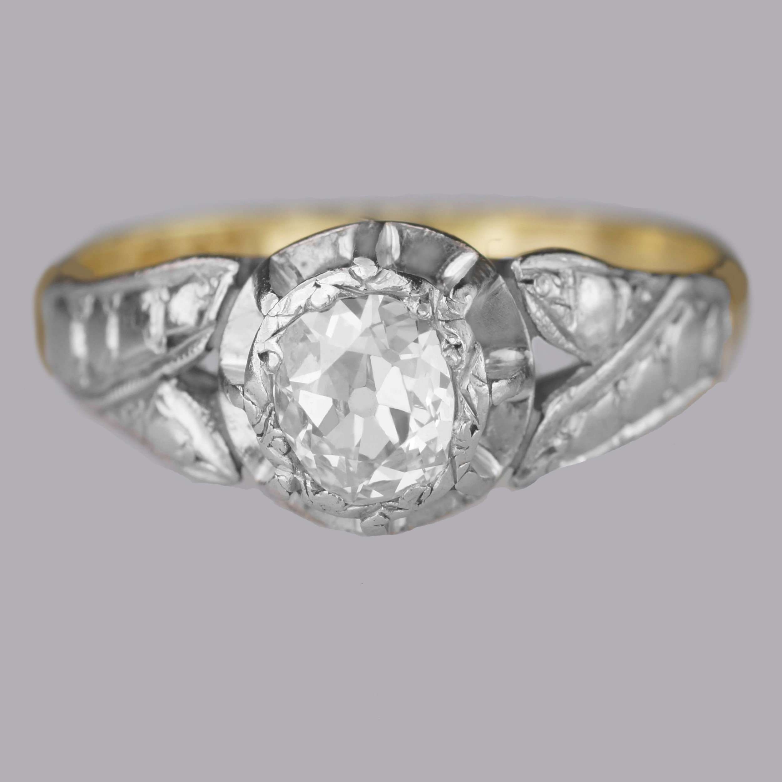 solitaire old cut diamond ring antique 18ct gold plat 1920's engagement ring