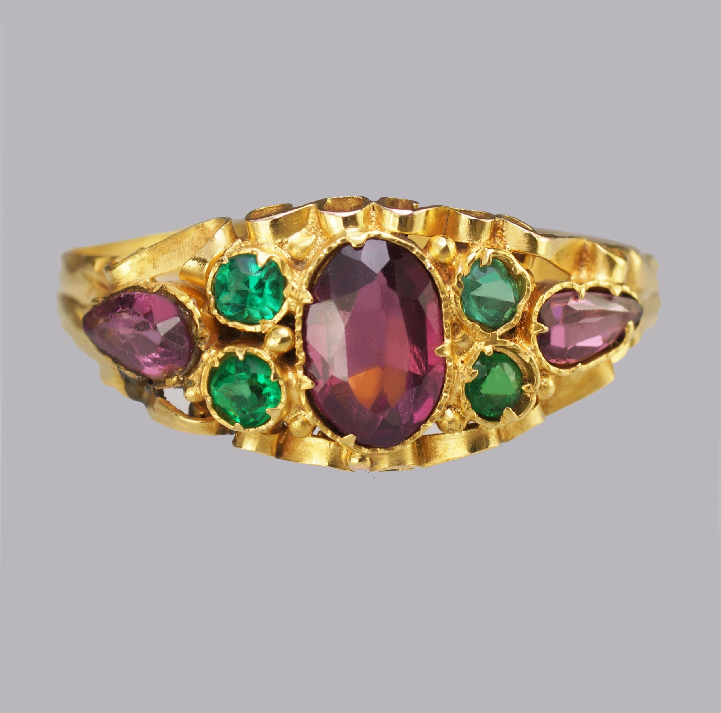 victorian garnet emerald english ornate 12ct gold antique ring hallmarked 1873