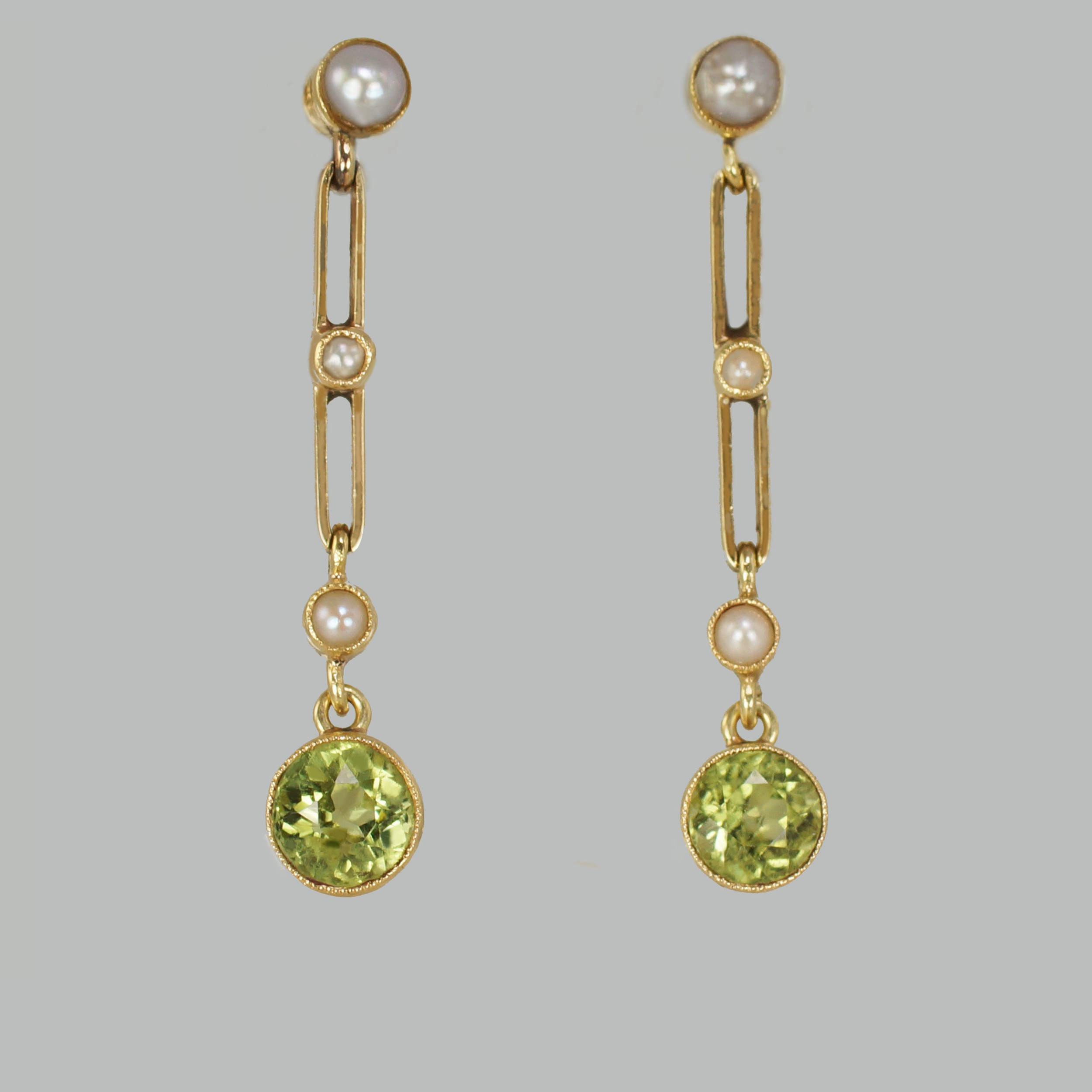 art deco peridot seed pearl dangle earrings 15ct gold antique earrings circa1915