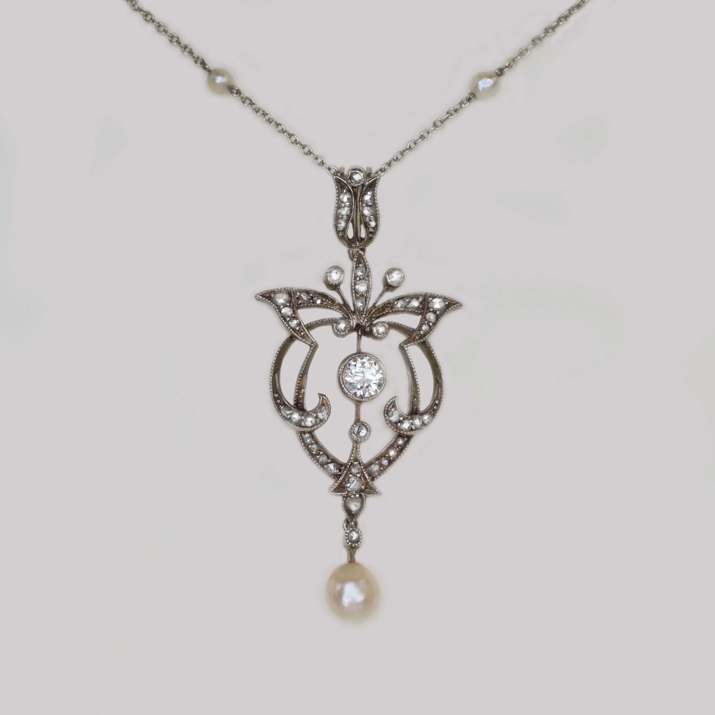 edwardian diamond pearl lavaliere pendant platinum antique art nouveau necklace