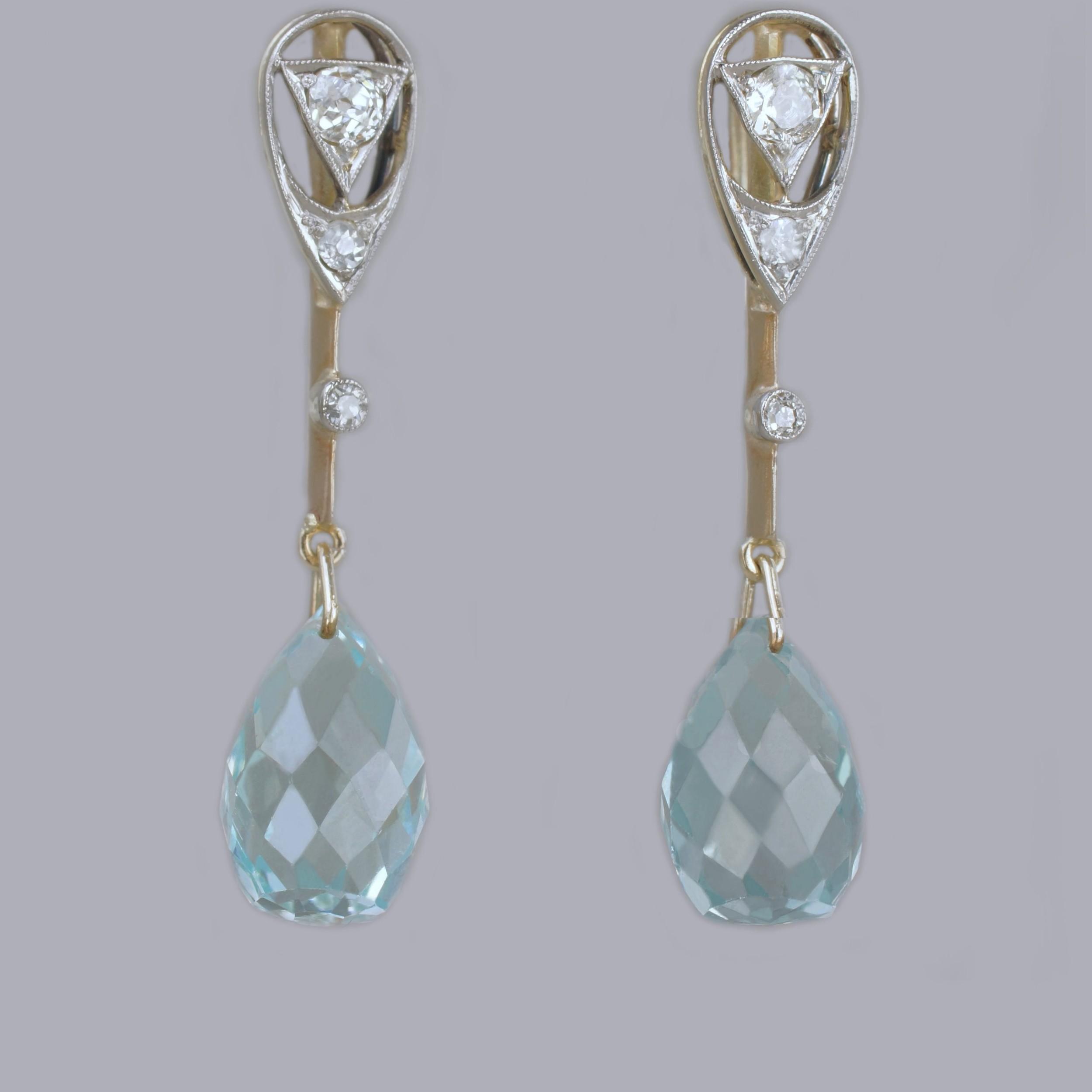 aquamarine old cut diamond edwardian drop earrings antique 18ct gold dangle earrings