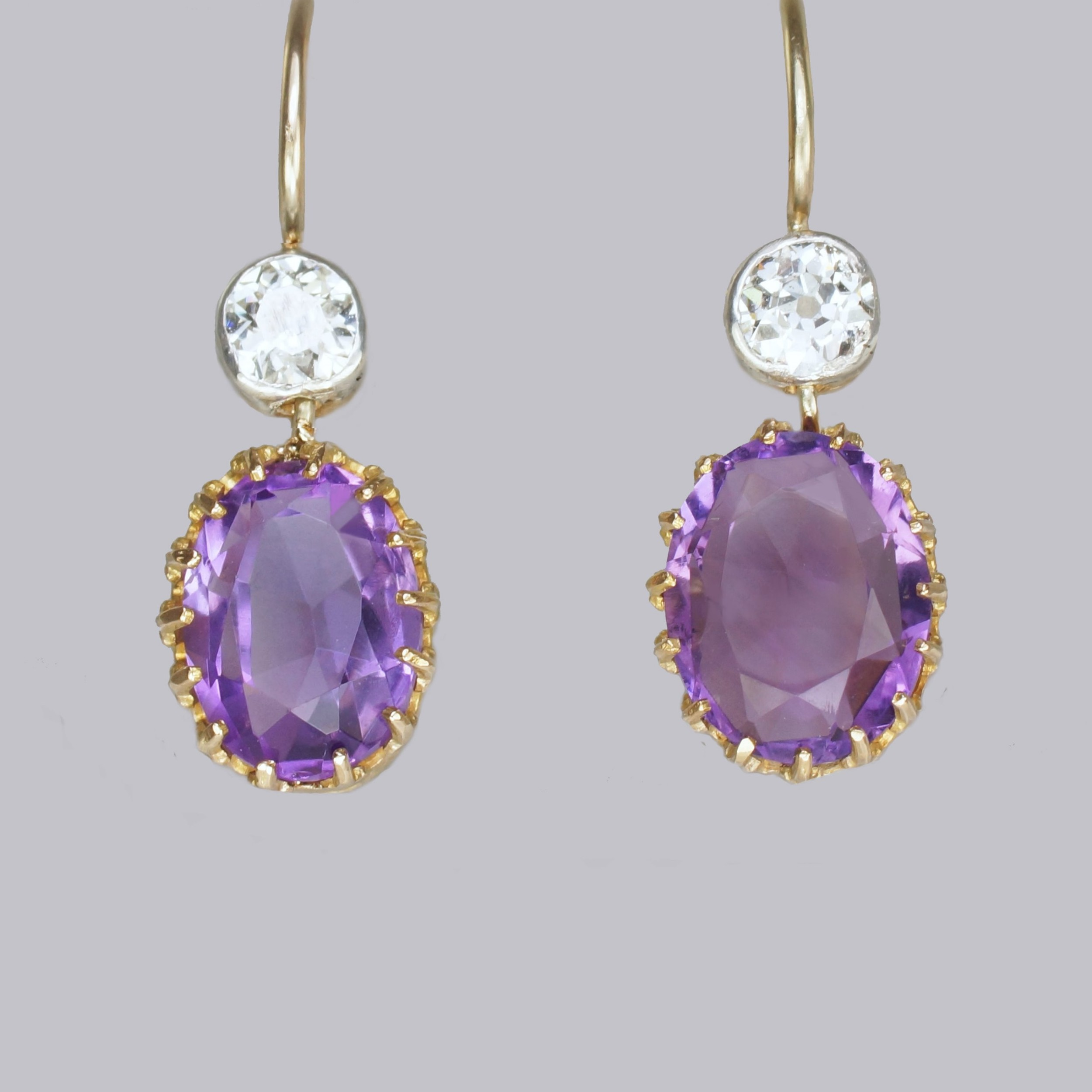 edwardian amethyst old cut diamond drop earrings antique 18ct gold 1 dangle earrings