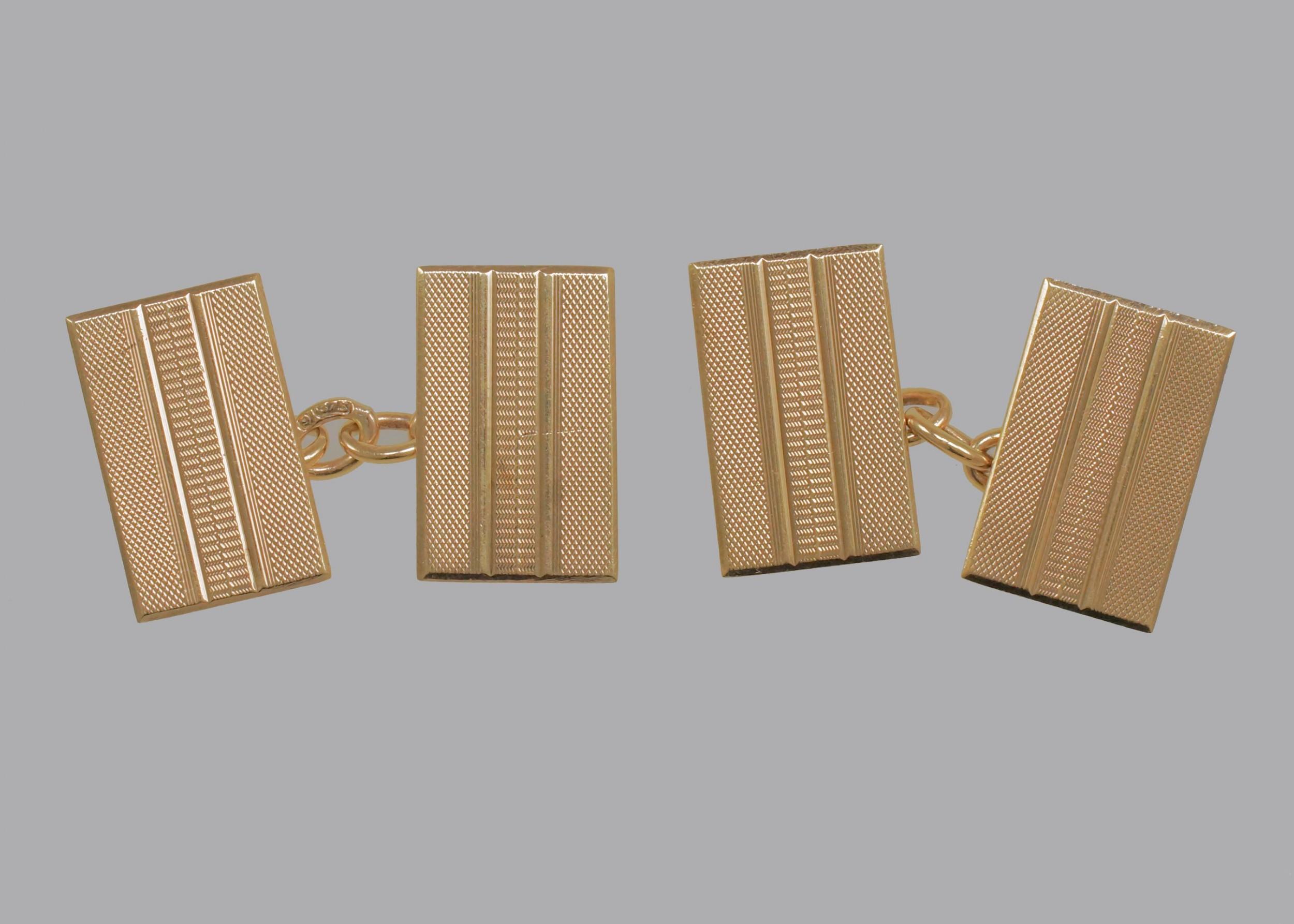art deco cufflinks 9ct gold hallmarked chester 1939 engine turned cuff links