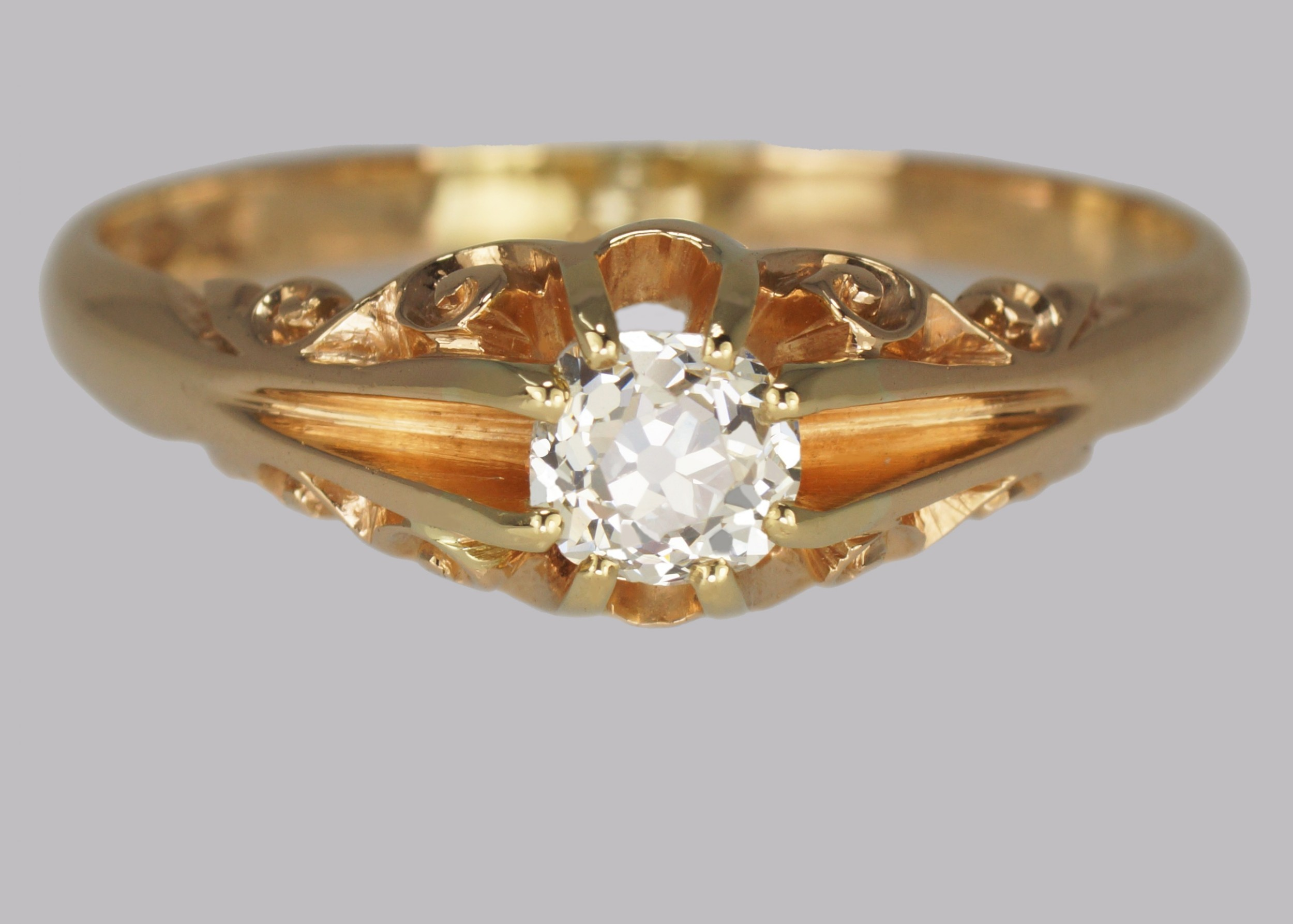 antique 05ct old cut diamond 18ct gold edwardian solitaire ring 1908 size v 12
