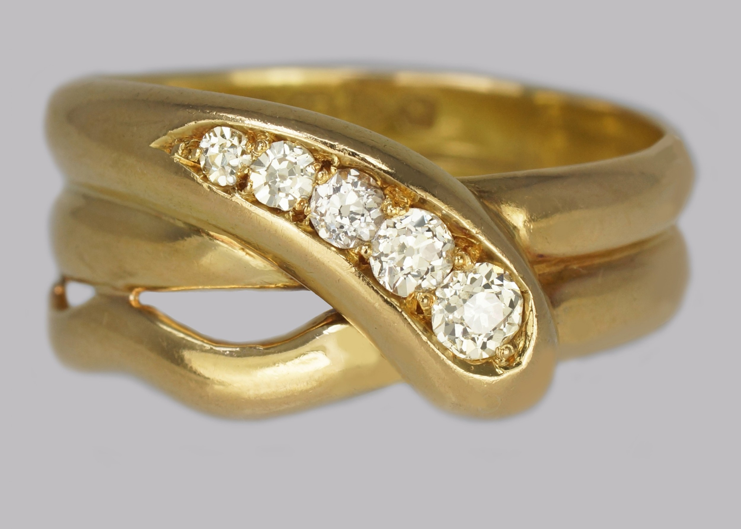 victorian diamond snake ring 18ct gold antique coiled serpent ring chester 1896