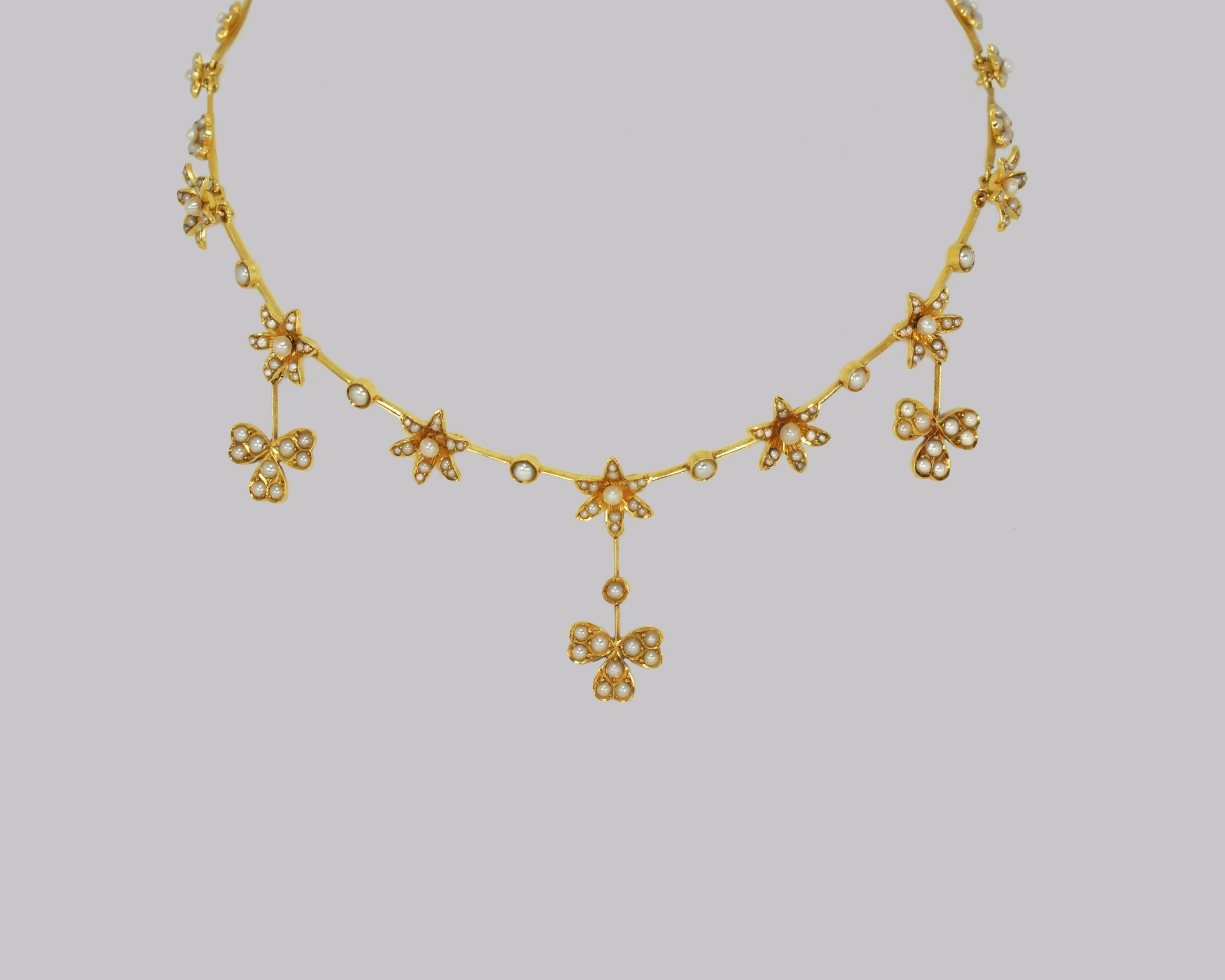 antique seed pearl necklace 15ct gold three leaf clover edwardian necklace circa 1910