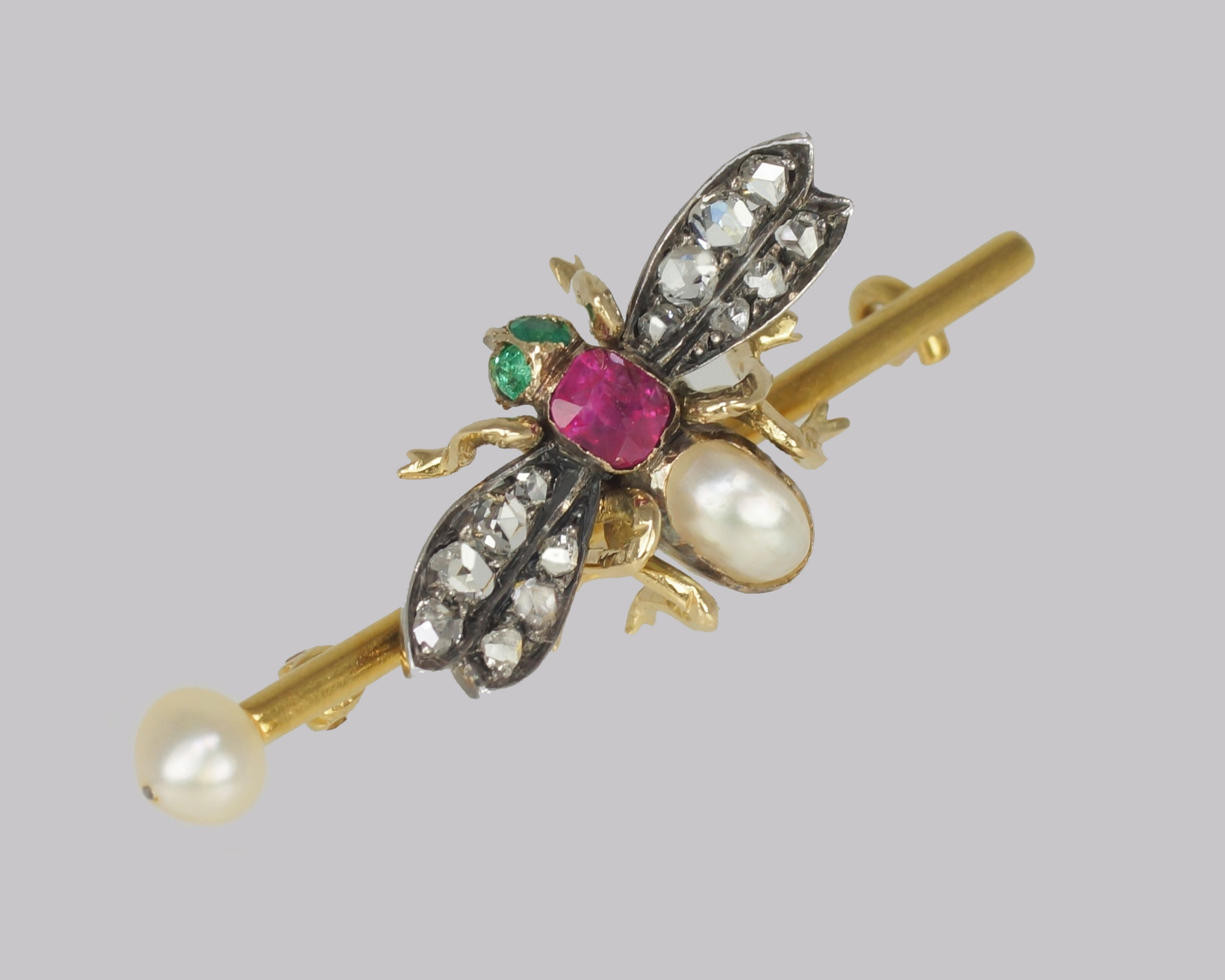 victorian bee brooch antique 18ct gold ruby pearl emerald rose cut diamond insect brooch
