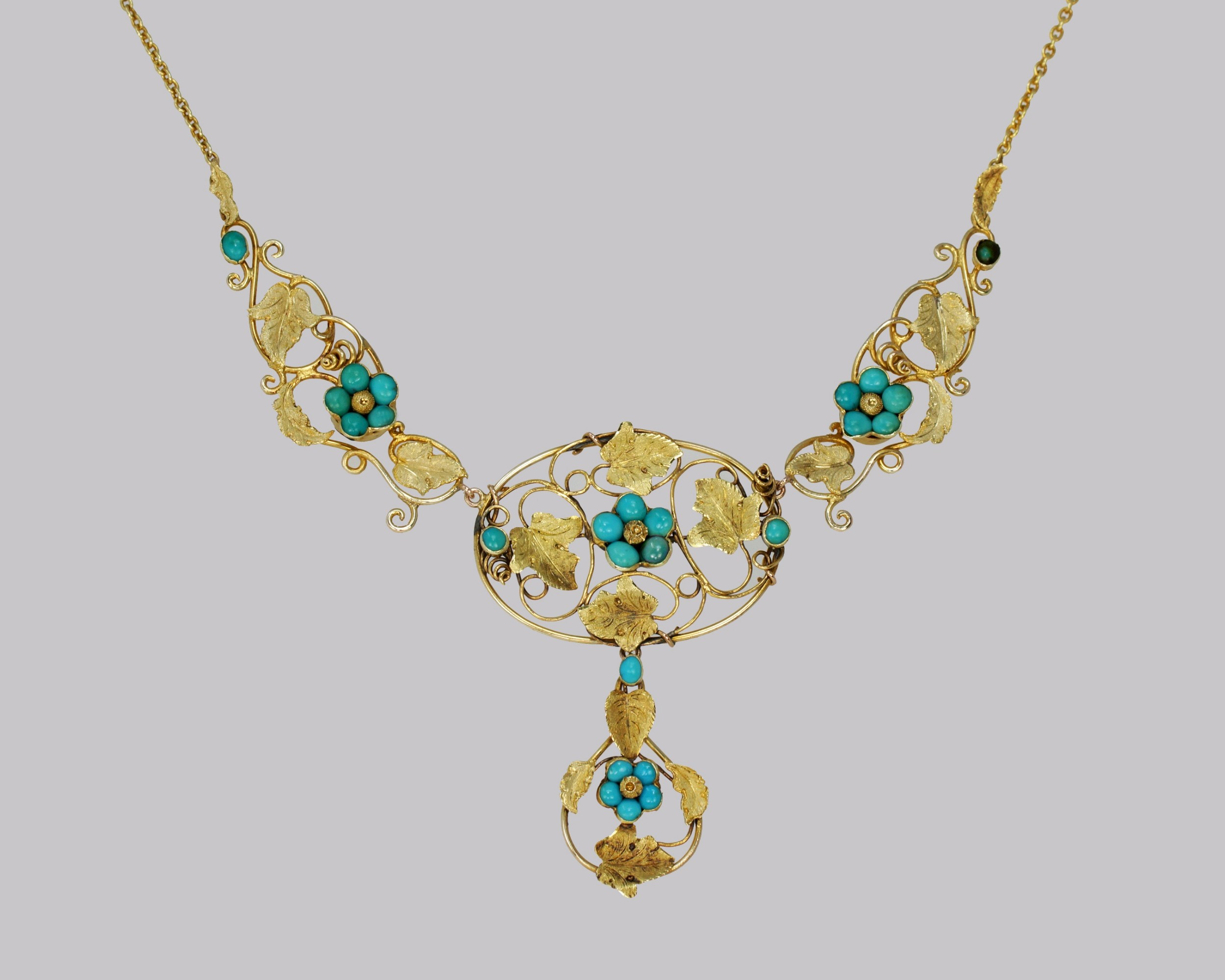 victorian 15ct gold turquoise necklace antique floral scroll necklace circa 1860