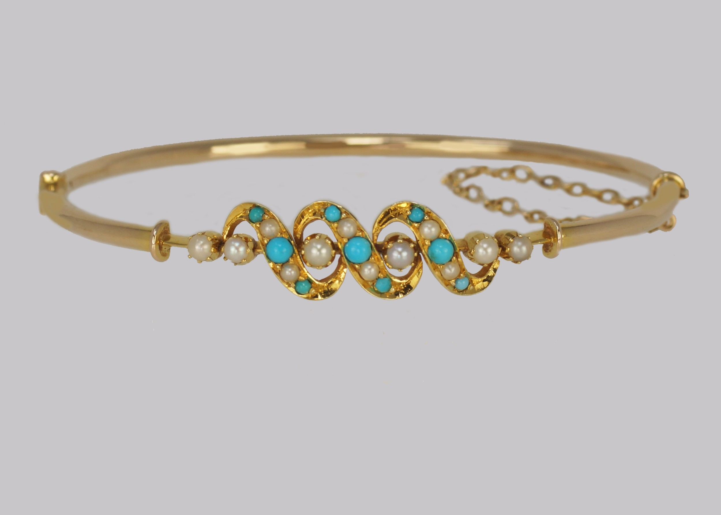 victorian turquoise pearl bangle antique 15ct gold bracelet with original box circa 1900