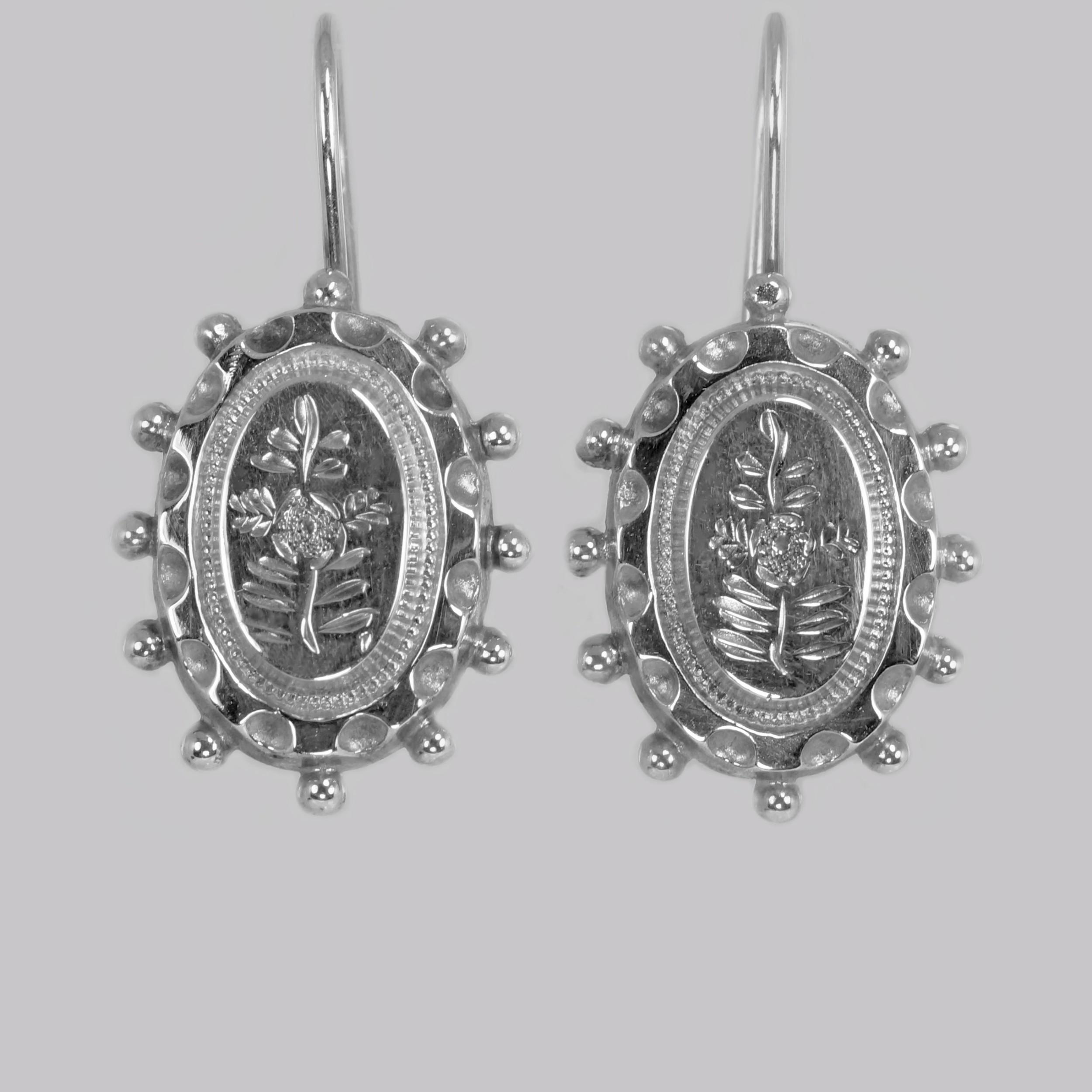 victorian silver earrings hallmarked birmingham 1876 antique drop earrings