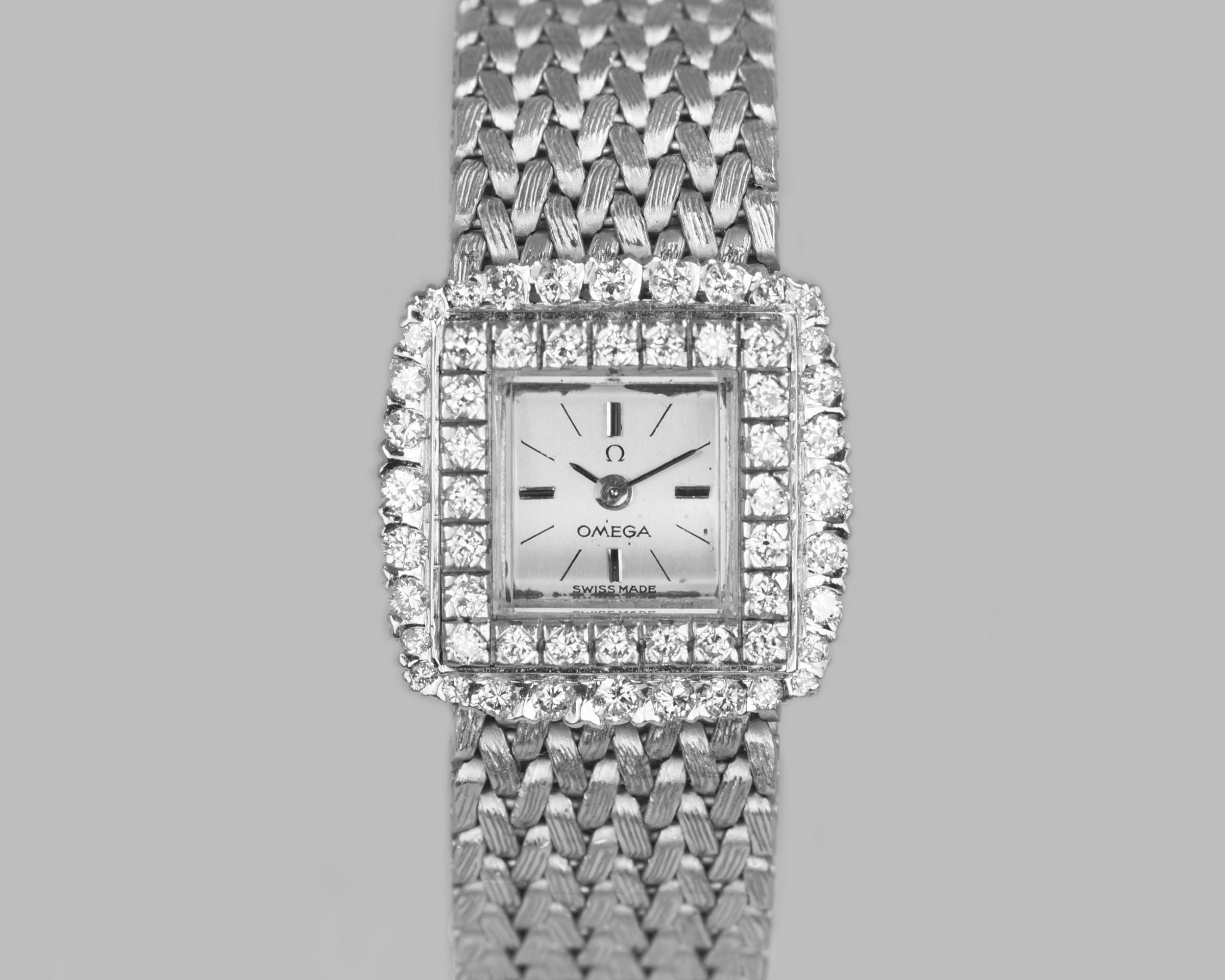 vintage omega diamond bracelet watch ladies 9ct gold 1960's 120ct diamond watch