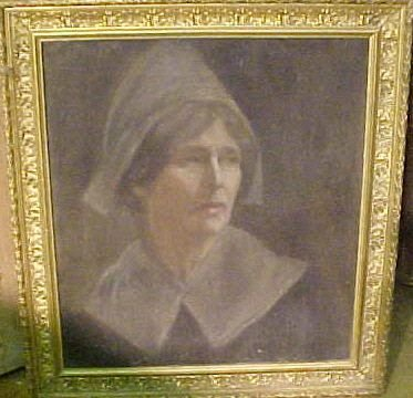 oil on canvas of quaker lady in a gilt frame