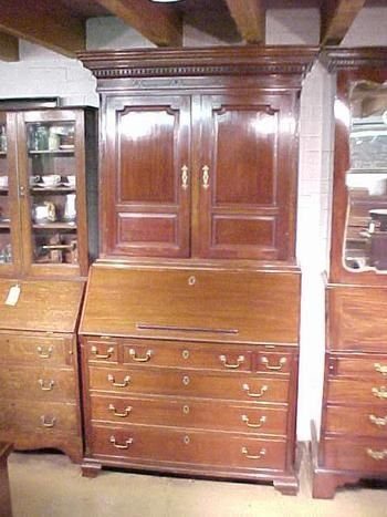 a fine quality georgian walnut bureau bookcase