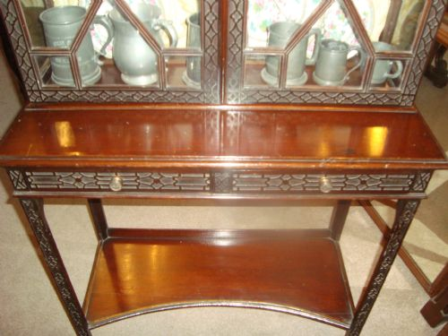 a victorian mahogany 'chippendale style' showcase cabinet - photo angle #4