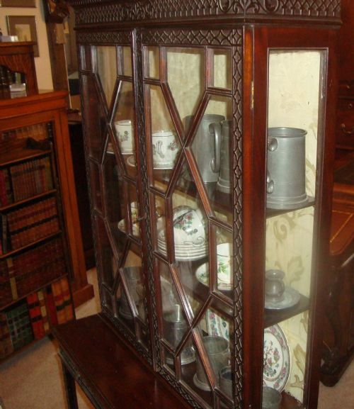 a victorian mahogany 'chippendale style' showcase cabinet - photo angle #3