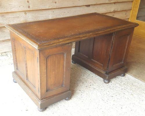 victorian solid teak desk with panelled sides