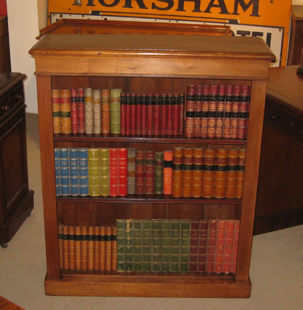 late victorian golden walnut open bookcase