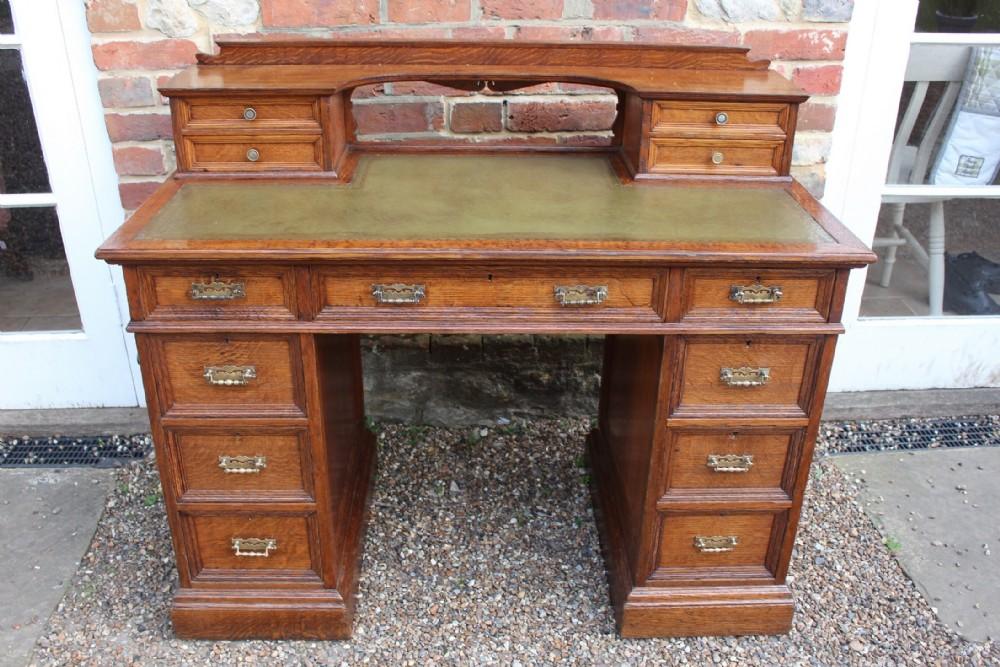 victorian golden oak pedestal desk howard son