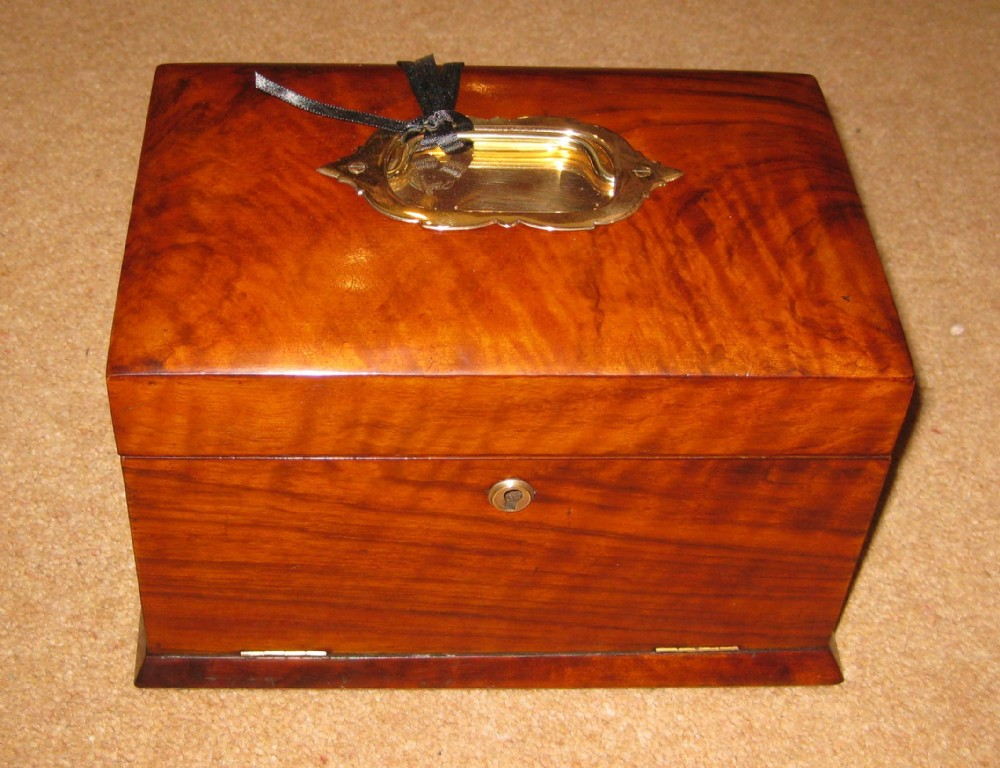 victorian walnut jewellery box with drop front