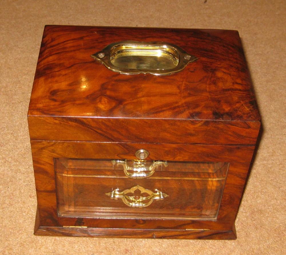 a lovely victorian walnut drop front glazed jewellery box