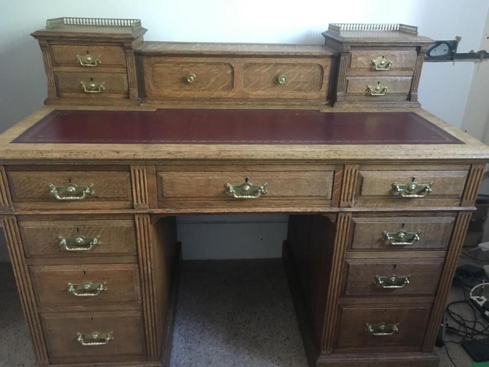 victorian oak dickens style pedestal desk by maple co
