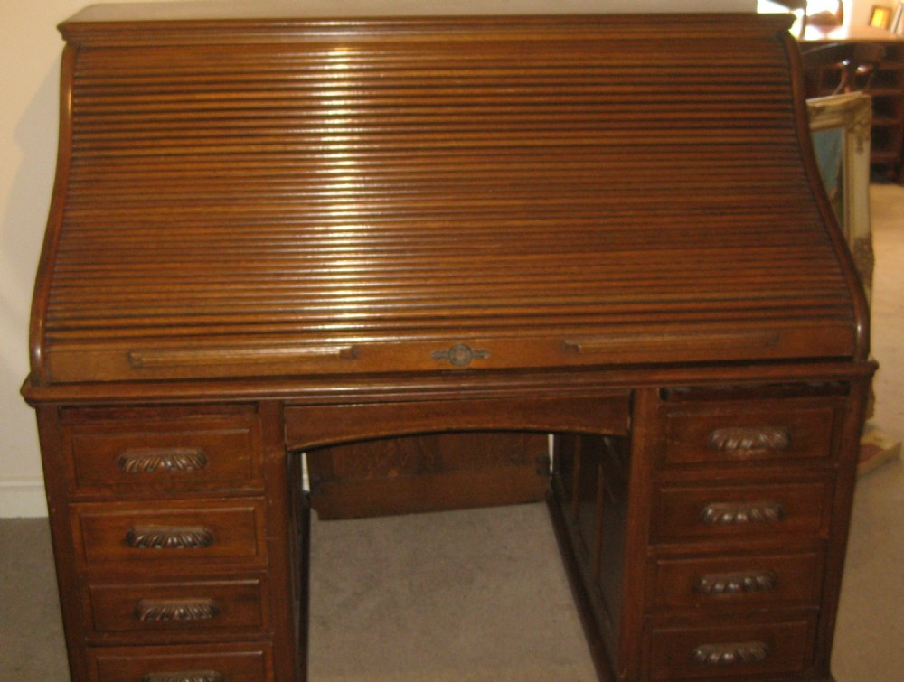 large edwardian solid oak 's' shaped rolltop desk