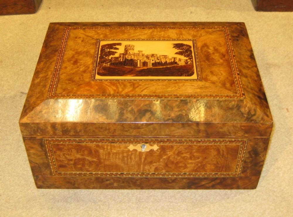 a stunning tunbridge ware trinity house jewellery box