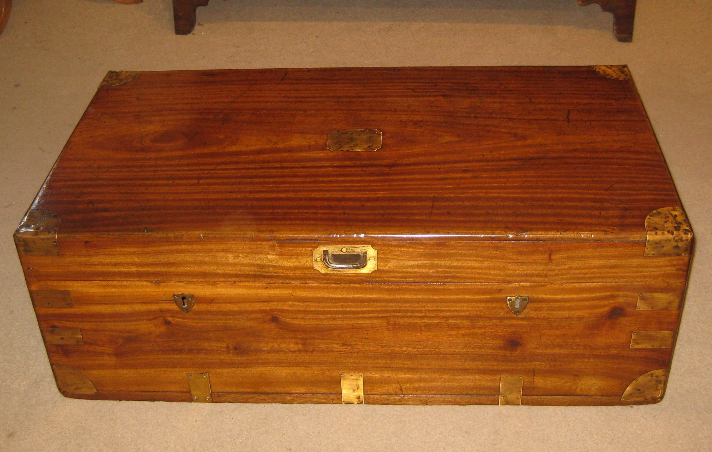 fine quality victorian camphorwood campaign trunk