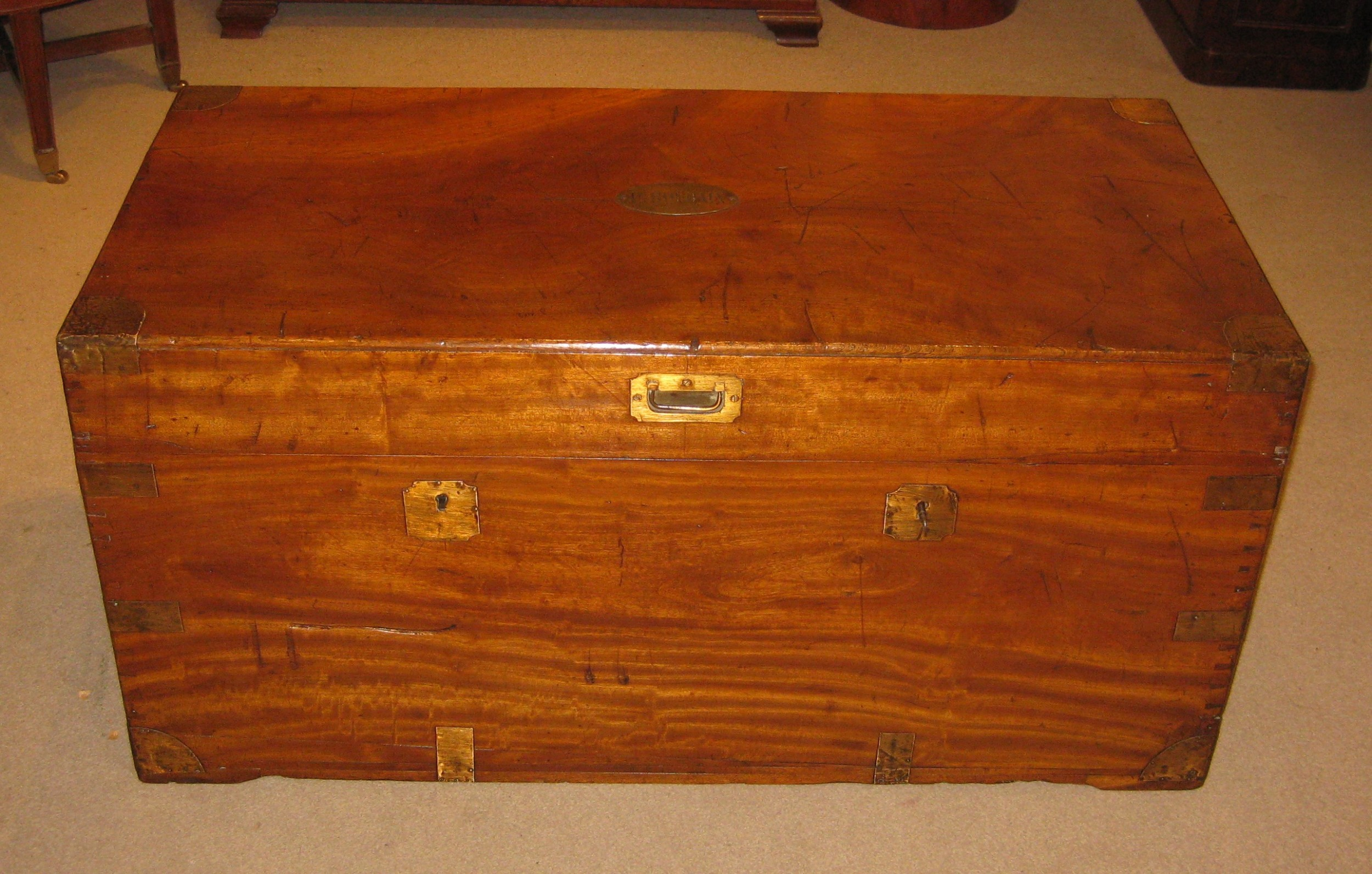 large victorian solid camphorwood campaign trunk