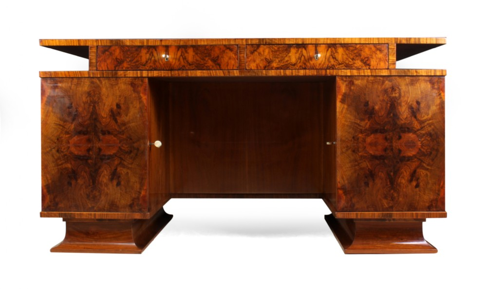 italian art deco desk in walnut c1930