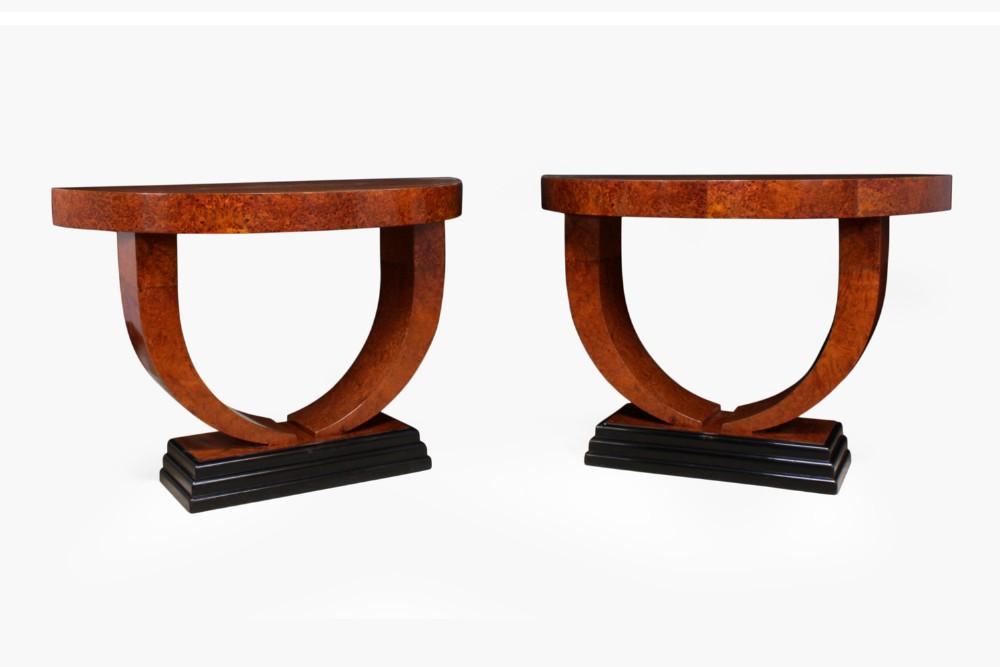 pair of art deco demi lune console tables
