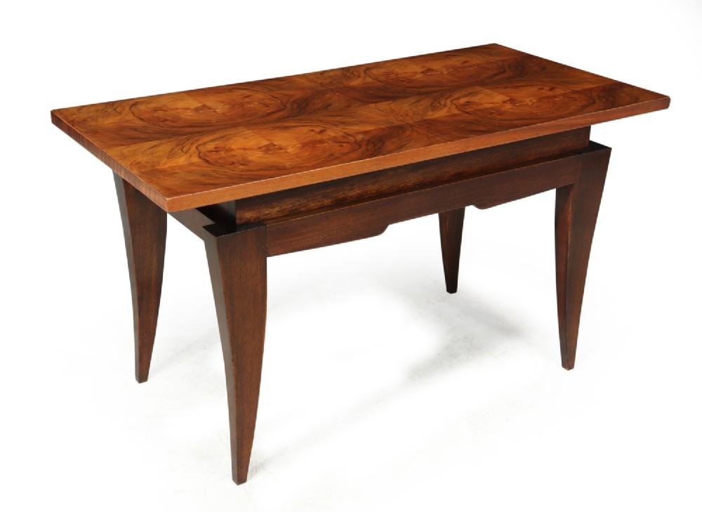 french art deco walnut coffee table c1930