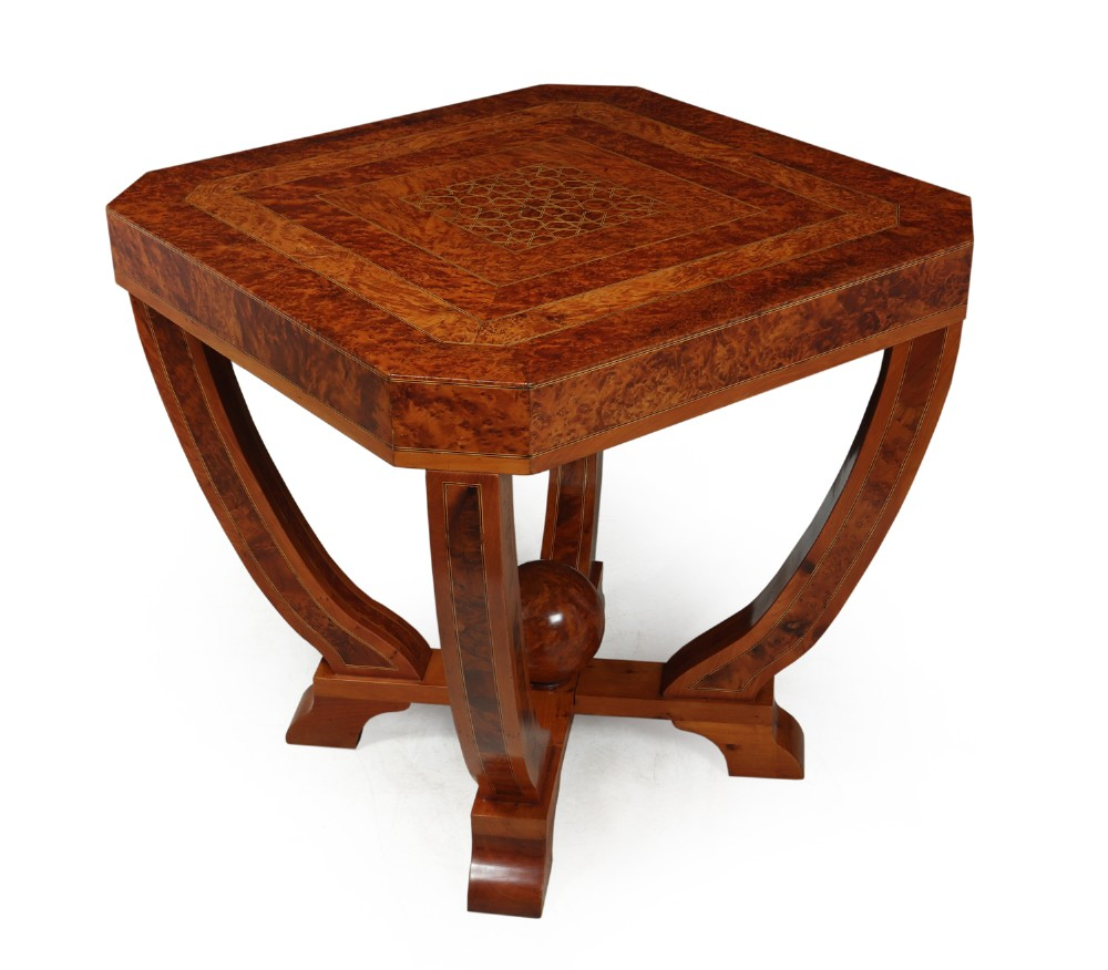 art deco coffee table in burr yew c1930