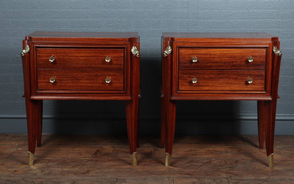 a pair of french art deco bedside chests