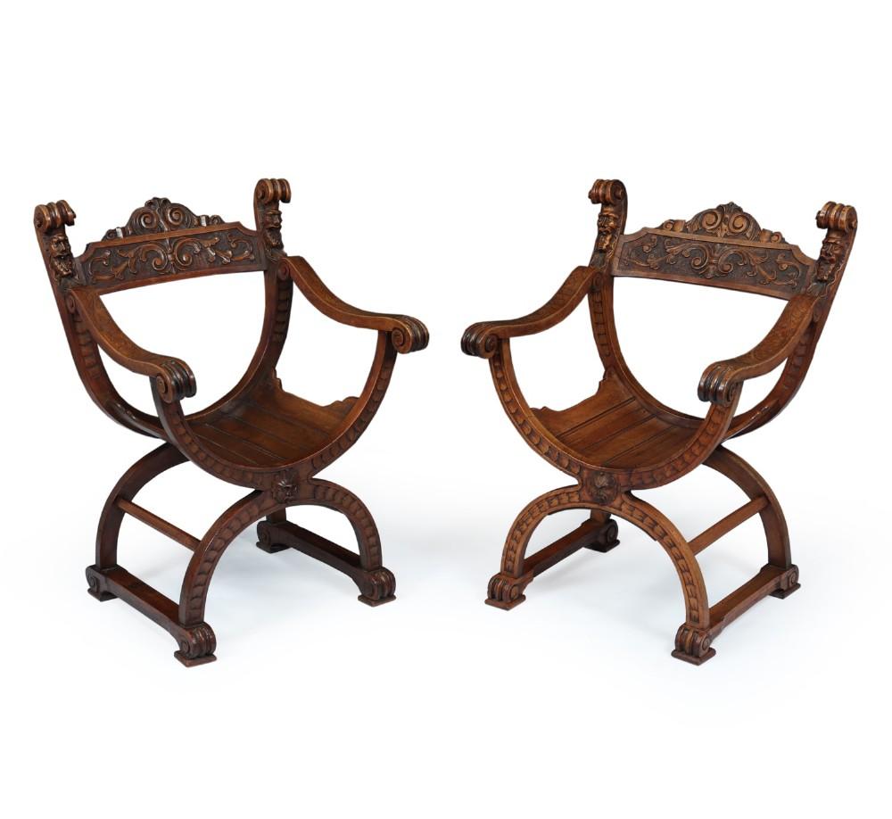 antique walnut curule chairs c1880
