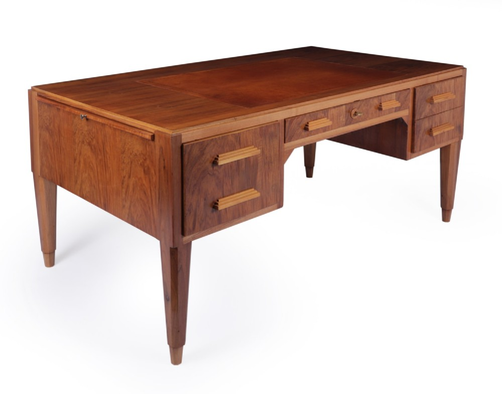 french art deco walnut desk c1930