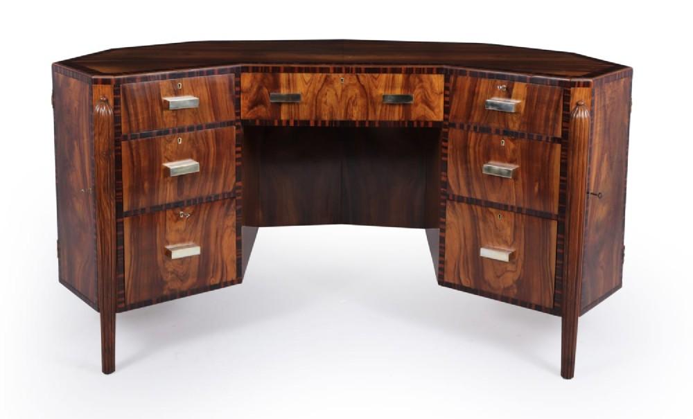 art deco desk in european plum and macassar ebony c1920