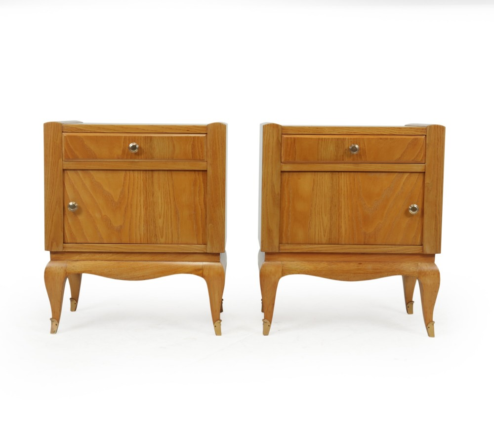 french art deco bedside cabinets in cherry