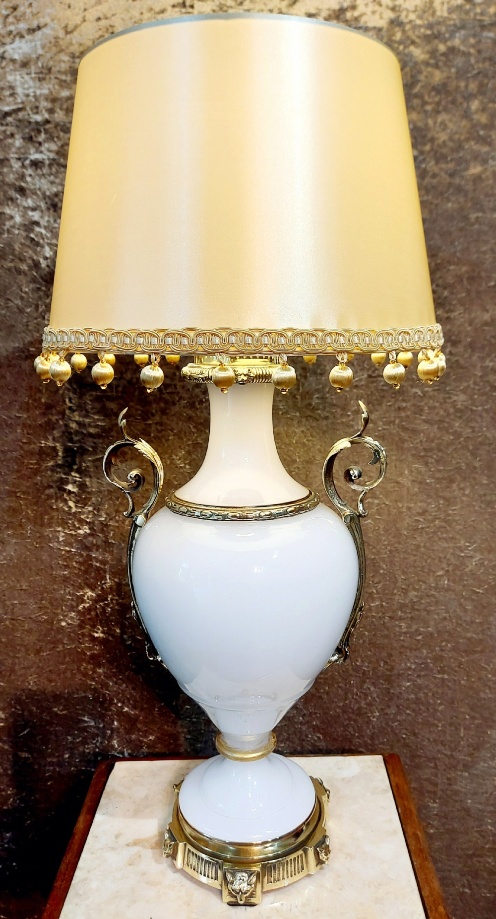 a large 19th century opaline glass lamp
