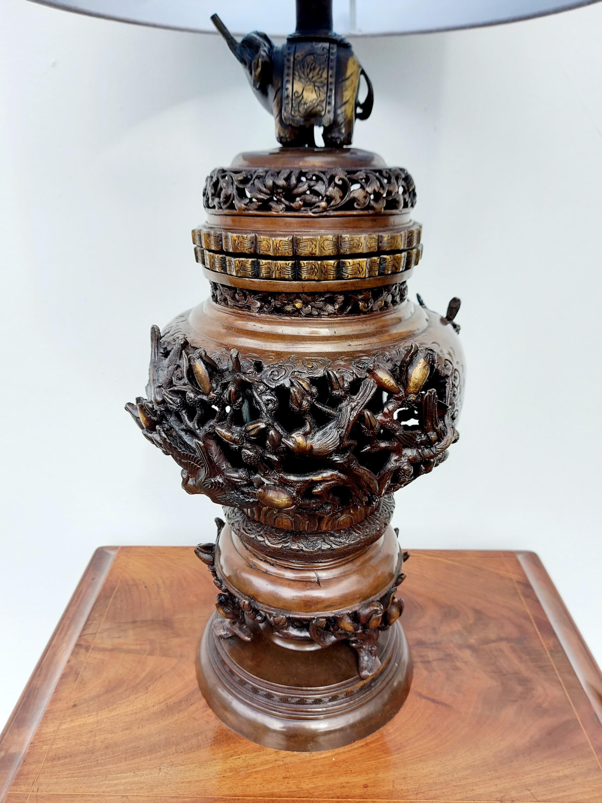 a large japanese meiji period bronze lamp