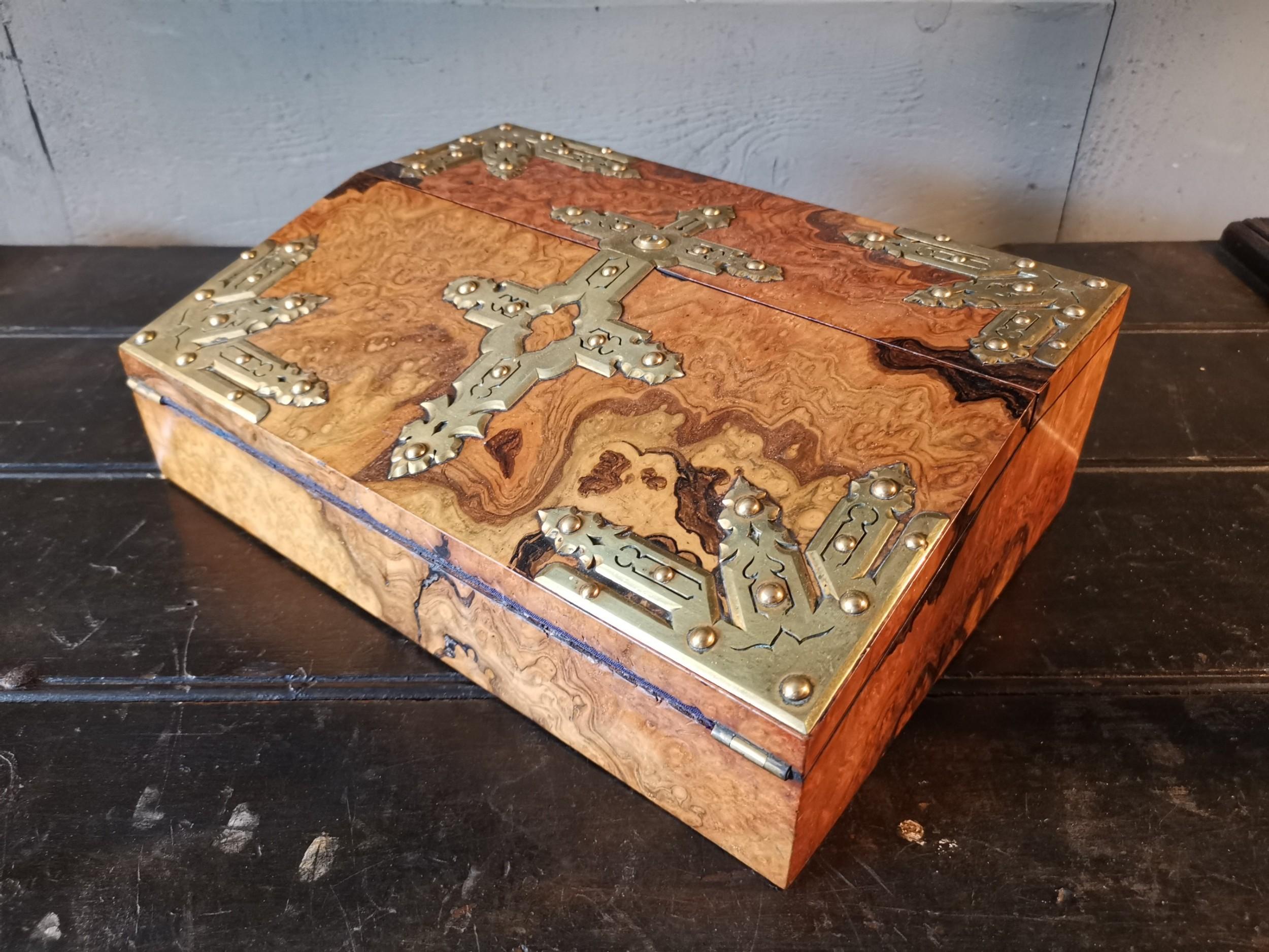 a fine burr walnut brass stationery box